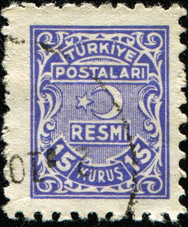 TURKIE - CIRCA 1947: An Official Stamp printed in Turkey, circa 1947  photo