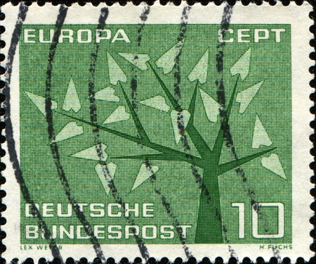 GERMANY - CIRCA 1962: A Stamp printed in the GERMANY shows CEPT (European Conference of Postal and Telecommunications) symbol, circa 1962  photo