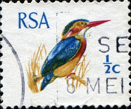 postmark: SOUTH AFRICA - CIRCA 1969: A stamp printed in South Africa (RSA) shows African Pygmy Kingfisher - Ispidina picta, circa 1969