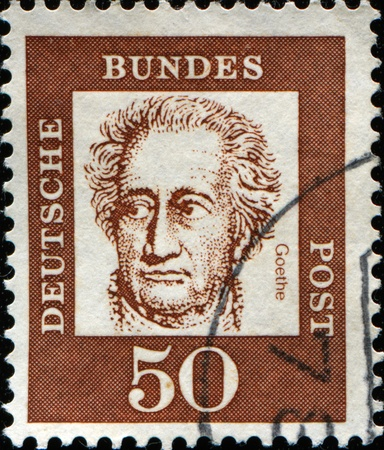 theoretical: GERMANY - CIRCA 1961: A stamp printed in Germany shows Johann Wolfgang von Goethe - German writer, pictorial artist, biologist, theoretical physicist, and polymath, circa 1961
