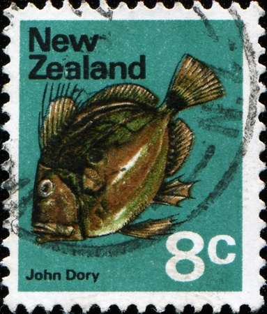 NEW ZEALAND - CIRCA 1970: A stamp printed in New Zealand shows John Dory Fish, also known as St Pierre or Peters Fish - Zeus faber, circa 1970  photo