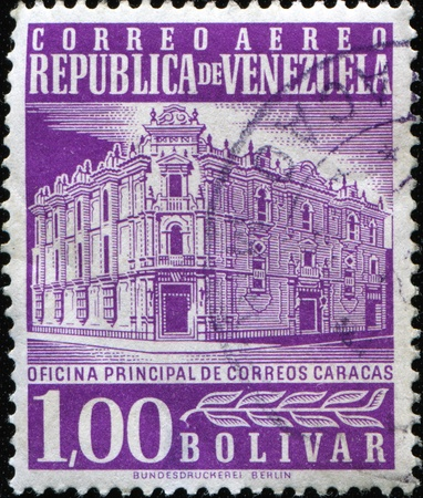 VENEZUELA - CIRCA 1953: A stamp printed in Venezuela shows Postoffice in Caracas, circa 1953  Stock Photo - 11369589