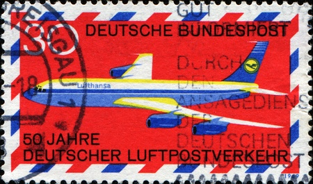 philately: air; aircraft; airline; airmail; airplane; aviation; commemorative; flight; flying; jet; lufthansa; mail; passenger; philately; plane; postage; postal; red; speed; stamp; transport; transportation; travel; wings
