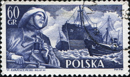 POLAND - CIRCA 1955: A stamp printed in Poland shows Merchant Navy, Fryderyk Chopin (freighter) and Radunia (trawler), circa 1955