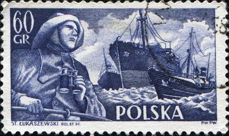 fryderyk chopin: POLAND - CIRCA 1955: A stamp printed in Poland shows Merchant Navy, Fryderyk Chopin (freighter) and Radunia (trawler), circa 1955 Editorial