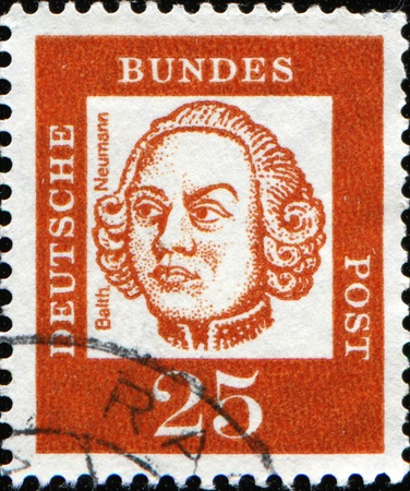 GERMANY - CIRCA 1961: A stamp printed in Germany shows Johann Balthasar Neumann - military artillery engineer and architect, circa 1961  photo