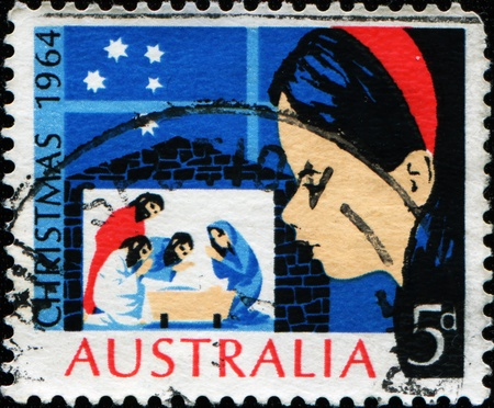 AUSTRALIA - CIRCA 1964: A Christmas stamp printed in Australia showing a girl looking for thtree kings, circa 1964 Stock Photo - 11370264