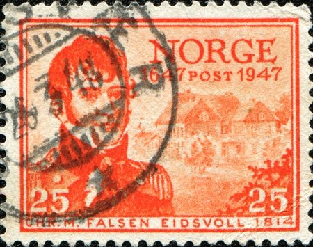 NORWAY - CIRCA 1947: A stamp printed in Norway shows Christian Magnus Falsen - Norwegian politician, historian, lawyer and civil servant, circa 1947 photo