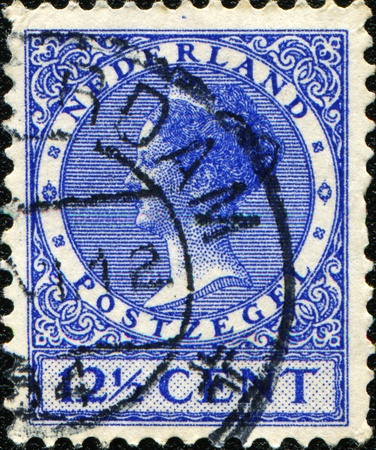 wilhelmina: NETHERLANDS - CIRCA 1924: A stamp printed in the Netherlands, shows Wilhelmina of the Netherlands, circa 1924
