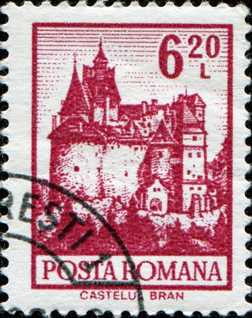 ROMANIA-CIRCA 1972:A stamp printed in Romania shows image of Bran Castle , situated near Bran and in the immediate vicinity of Brasov, is a national monument and landmark in Romania, circa 1972. Stock Photo - 11370420