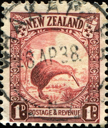 NEW ZEALAND - CIRCA 1935: A stamp printed in New Zealand shows Kiwi Bird, circa 1935