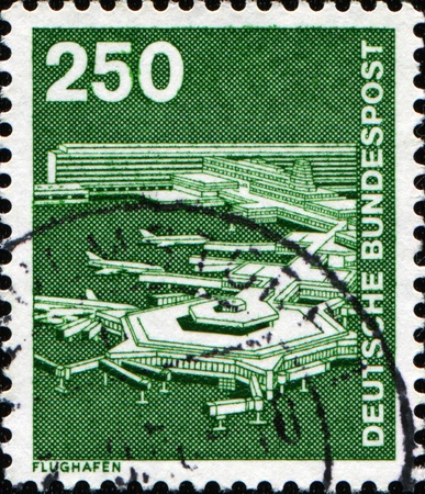 frankfurt: GERMANY - CIRCA 1975: A stamp printed in West Germany shows image of Frankfurt Airport, circa 1975 Stock Photo