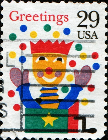 UNITED STATES OF AMERICA - CIRCA 1993: A stamp printed in the USA shows  jack-in-a-box, circa 1993