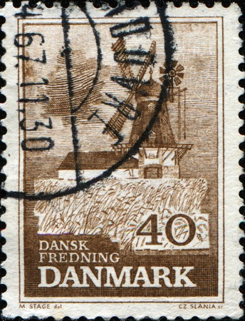bogo: DENMARK - CIRCA 1965: A stamp printed in  Denmark shows Bogo windmill, circa 1965