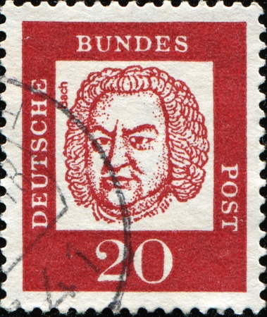 GERMAN-CIRCA 1961: A post stamp prined in Germany shows portrait of Johann Sebastian Bach, Series of Berlin stamps of distinguished German, circa 1961  photo