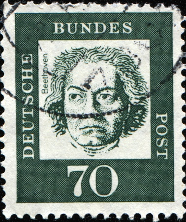 virtuoso: GERMAN-CIRCA 1961: A post stamp prined in Germany shows portrait of Ludwig van Beethoven, Series of Berlin stamps of distinguished German, circa 1961 Stock Photo