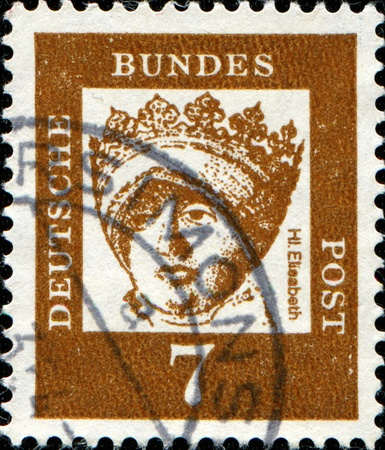 GERMAN - CIRCA 1961: A post stamp prined in Germany shows portrait of Elisabeth Christine of Brunswick-Wolfenbuttel , Series of Berlin stamps of distinguished German, circa 1961 photo