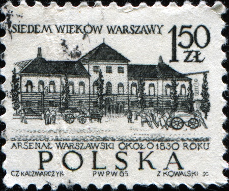 arsenal: POLAND - CIRCA 1965: A stamp printed in Poland shows Warsaws arsenal, circa 1965