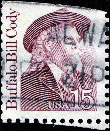the showman: USA - CIRCA 1988 : A stamp printed in the USA shows Buffalo Bill (real name William Frederick Cody), American soldier, bison hunter and showman, circa 1988