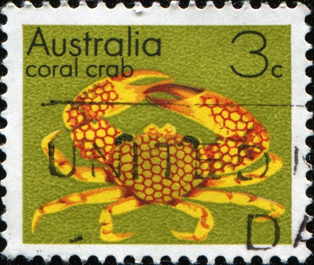cancelled stamp: AUSTRALIA - CIRCA 1973: A stamp printed in Australia shows coral crab - Liocarcinus vernalis, circa 1973 Stock Photo