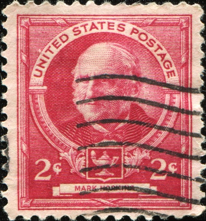 theologian: UNITED STATES OF AMERICA - CIRCA 1940: A stamp printed in the USA shows Mark Hopkins - American educator and theologian, circa 1940