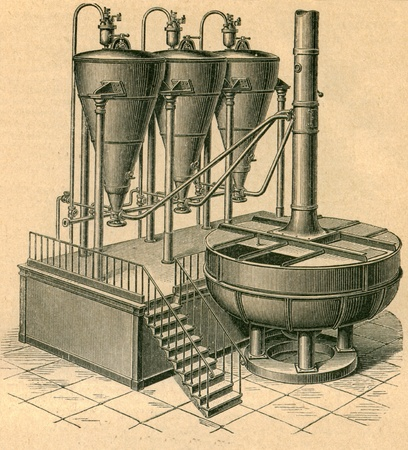 Distilator, is used to produce alcohol, which is required for the production of whiskey, cognac, brandy, gin, tequila, vodka, rum - an illustration of the encyclopedia publishers Education, St. Petersburg, Russian Empire, 1896