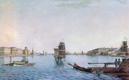 engraver: Le navi sul fiume Neva presso l'Accademia delle Scienze di Russia, San Pietroburgo. Tinted incisione XVII secolo