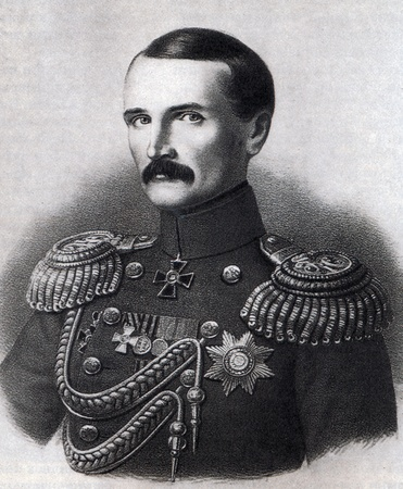 admiral: Vice Admiral Vladimir  Kornilov hero of Crimean War. Lithograph after a drawing by Georg Wilhelm Timm. XIX century. Editorial