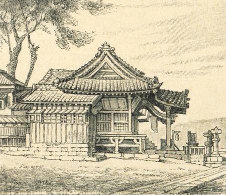 hachimangu: Temple Tsurugaoka Hachiman-gu  - an illustration of the encyclopedia publishers Education, St. Petersburg, Russian Empire, 1896