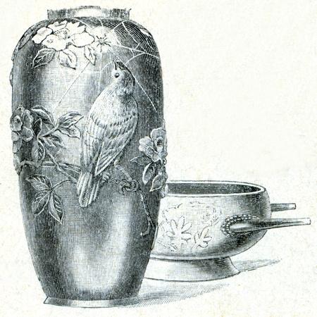 engraver: vaso di bronzo da Kyoto e lavandino - un esempio della educazione enciclopedia editori, San Pietroburgo, Impero Russo, 1896