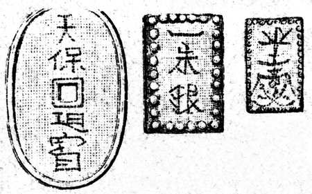 publishers: Medieval Japanese coins  - an illustration of the encyclopedia publishers Education, St. Petersburg, Russian Empire, 1896
