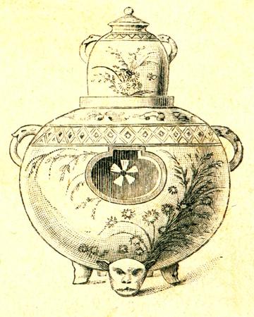 engraver: Satsuma ceramica - l'illustrazione della educazione enciclopedia editori, San Pietroburgo, Impero Russo, 1896