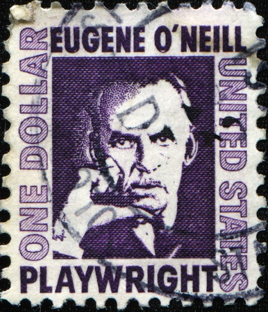 nobel: UNITED STATES - CIRCA 1967: A stamp printed in the USA shows American playwright and Nobel laureate in Literature Eugene ONeill, circa 1967