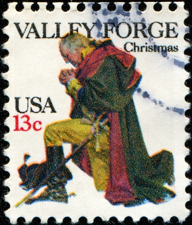 UNITED STATES - CIRCA 1977: A stamp printed in United States of America shows Washington at Valley Forge, circa 1977  Stock Photo - 11370346