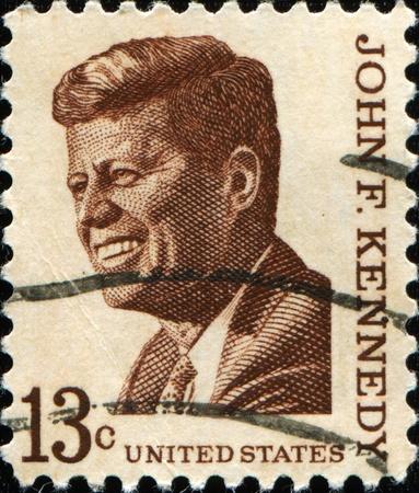 statesman: UNITED STATES - CIRCA 1965: A stamp printed by United states shows John F. Kennedy, circa 1965. Stock Photo