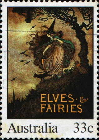 AUSTRALIA - CIRCA 1985: A stamp printed in Australia shows Illustrations from classic children's books, Elves & Fairies, circa 1985  illustration
