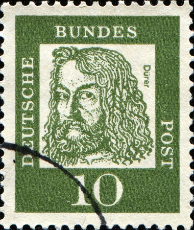 durer: GERMANY - CIRCA 1961: A stamp printed in Germany shows Albrecht Durer - a German painter, printmaker, engraver, mathematician, and theorist from Nuremberg, circa 1961