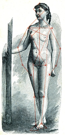 engraver: German girlwith a superimposed pattern of proportions physique - an illustration of the encyclopedia publishers Education, St. Petersburg, Russian Empire, 1896