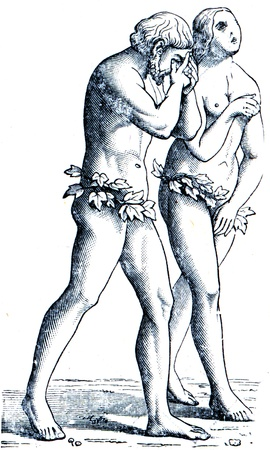 publishers: Adam and Eve by Masachchio - an illustration of the encyclopedia publishers Education, St. Petersburg, Russian Empire, 1896