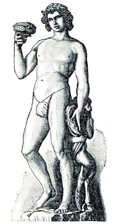 engraver: Bacco di Michelangelo Buanarotti - l'illustrazione della educazione enciclopedia editori, San Pietroburgo, Impero Russo, 1896