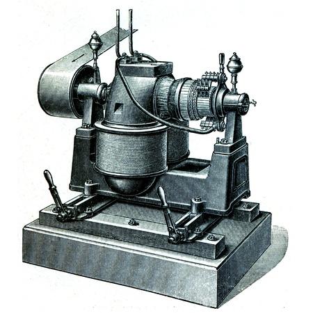 engraver: Dynamo DC Siemens e Halske - l'illustrazione del Istruzione enciclopedia editori, San Pietroburgo, Impero russo, 1896 Editoriali