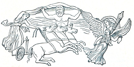 eos: Helium and Eos, supported by the morning dew, and above them the sky god; Relief on the shell of the statue of Augustus in the Vatican - an illustration of the encyclopedia publishers Education, St. Petersburg, Russian Empire, 1896