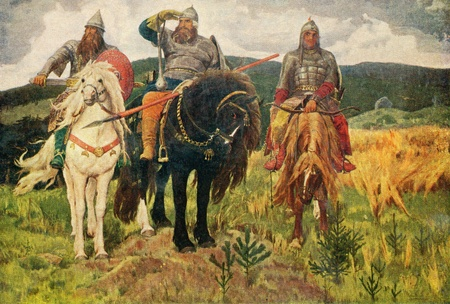 painting of the artist Victor Vasnetsov 'Giants' from the collection of the State Tretyakov Gallery, Moscow, 1898 Editorial