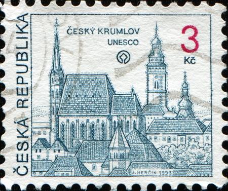 CZECH REPUBLIC - CIRCA 1993: A stamp printed in the Czech Republic shows Cesky Krumlov, circa 1993  photo