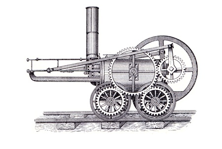 richard: RUSSIA - CIRCA 1962: Old engraver shows engine by Richard Trevithick. Engraver from russian book  Editorial