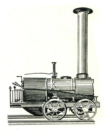 engraver: RUSSIA - CIRCA 1962: incisore Vecchio mostra motore di Cherepanov bovers, Russia, 1834. Incisore dal libro di russo Editoriali