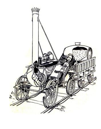engraver: RUSSIA - CIRCA 1962: incisore Old mostra Rocet motore Stefenson, 1829. Incisore dal libro russo