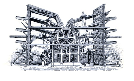 rotary: RUSSIA - CIRCA 1962: Old engraver shows rotary press. Engraver from russian book  Editorial