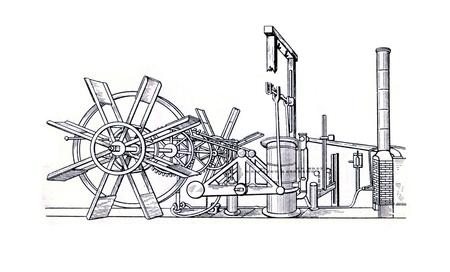 engraver: Incisore Old mostra macchina a vapore di vaporetto da Robert Fulton, Claremont, 1807. Incisore dal libro russo