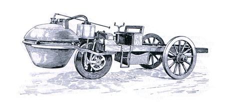 engraver: RUSSIA - CIRCA 1962: incisore Old mostra carro a vapore di Kono. Incisore dal libro russo